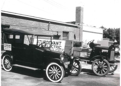 Sturdevant's delivery vehicles in Pipestone, circa 1936